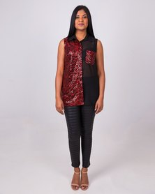Aurelie Black Sheer Crimson Sequin Top