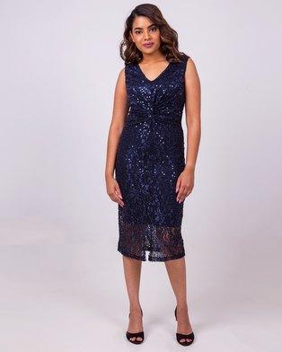 Aurelie Midnight Blue Sequin Cocktail Dress