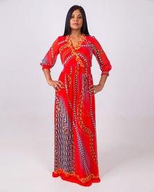 Aurelie 3/4 Sleeve Maxi Dress Red