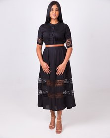 Aurelie Lace Detail Dress Black