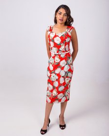 Aurelie Floral Formal Dress Red