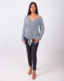 Aurelie Asymmetrical Blouse Black & White Stripe