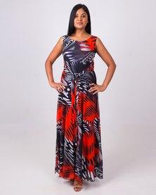 Aurelie Sleeveless Maxi Dress Red & Black
