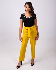Aurelie Casual Tailored Trousers Yellow