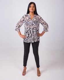 Aurelie Mandarin Collar Sheer Top Black/ White