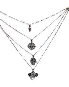 Karmiessentials Four Tiered Multilayer Elephant Moon Necklace Silver