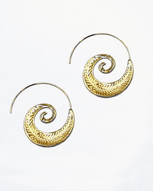 Karmiessentials Swirl Drop Gypsy Tribal Earrings Gold Plated