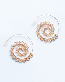 Karmiessentials Swirl Drop Tribal Earrings Gold Plated