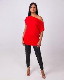 Aurelie Off-Shoulder Soft Blouse Red