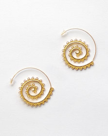 Karmiessentials Spiral Dangle Tribal Earrings Gold Plated