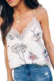 Princess Lola Boutique - For Keeps Lace Cami Tank - Floral