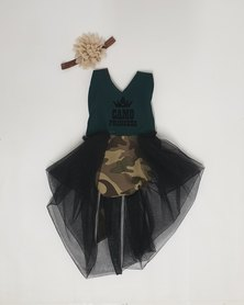 Anjo Couture Camouflage Romper - Green & Black
