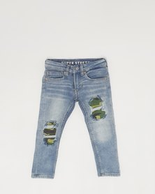 Anjo Couture Ripped Jean - Green Camouflage