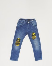Anjo Couture Ripped Jean - Yellow Camouflage
