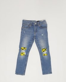 Anjo Couture Ripped Jean - Yellow Ethnic