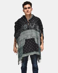 SKA Deer Print Square Poncho Black and Grey