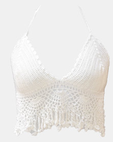 SKA Wide Bottom Crochet Bra Top White