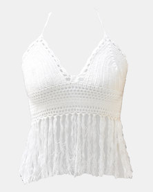 SKA Crochet Bra Top with Tassels White