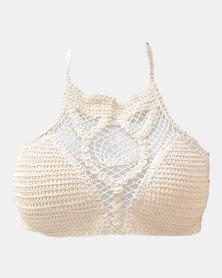 SKA High Neck Crochet Bra Top Natural