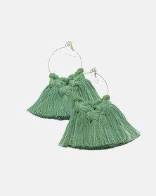 Fortuity Macramé Earrings Hoop Knot - Olive