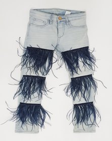 Anjo Couture Ripped Feather Jean - Navy