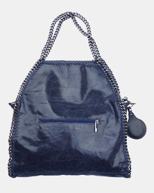 Casa Di Cincanra - Carla Chain Shoulder Leather Handbag Prussian Blue