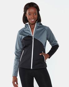 Swagg S-tech Two-Tone Hooded Ladies Dwr Softshell Jacket Stormy Grey/Black