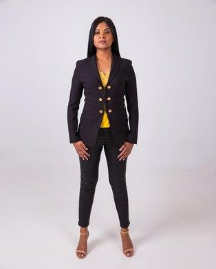 Aurelie Gold Button Blazer Black