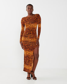 zip-code1909a long sleeve fitted dress snake print