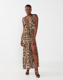 zip-code2935 plunge neckline sleeve less maxi dress leap print
