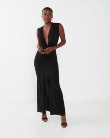 zip-code2935b plunge sleeve less fitted maxi dress plain black