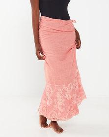 UB Creative Cotton Embroidered Sarong Peach