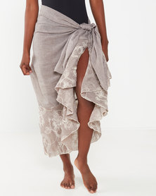 UB Creative Cotton Embroidered Sarong Taupe