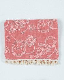UB Creative Cotton Embroidered Shawl Peach