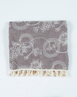 UB Creative Cotton Embroidered Shawl Taupe