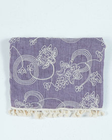 UB Creative Cotton Embroidered Shawl Purple