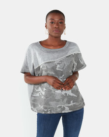 UB Creative Camo Sequin Top Grey