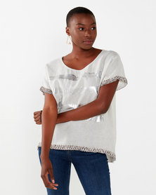 UB Creative Metallic Sequin Top Stone