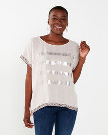 UB Creative Metallic Sequin Top Pink