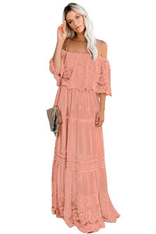 Princess Lola Boutique - Wild At Heart Lace Maxi Dress - Peach