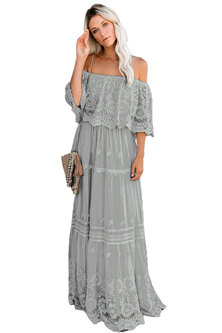 Princess Lola Boutique - Wild At Heart Lace Maxi Dress - Grey