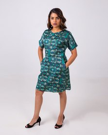 Aurelie Body Skimming Dress Blue/Green