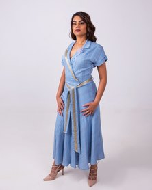 Romantic Skater Dress Baby Blue Gold Thread
