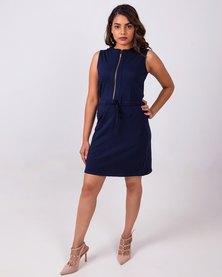 Aurelie Casual A-line Cotton Dress Navy Blue
