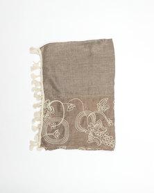UB Creative Cotton Embroided Scarf Taupe