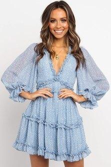 Princess Lola Boutique - Endless Love Boho Ruffle Mini Dress - Powder Blue
