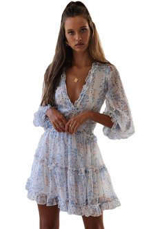 Princess Lola Boutique - Endless Love Boho Ruffle Mini Dress - White Floral