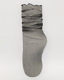 Anjo Couture Pearl Glitter Mesh Sock Black