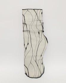 Anjo Couture Black Mesh Sock Stipes