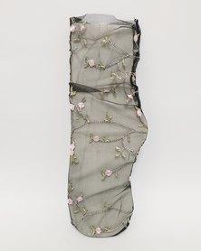 Anjo Couture Mesh Sock Flower Motive Black